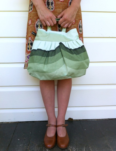 Green striped pixie bag