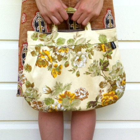 Yellow floral pixie bag